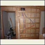 back of bathroom wall - plumbing