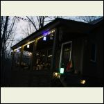 cabin porch with solar lighting
