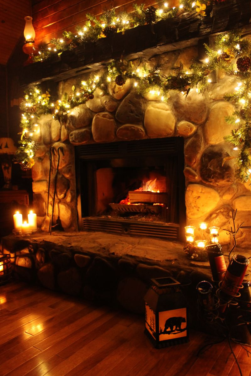 Romantic Cabin Fireplace 800 x 1200