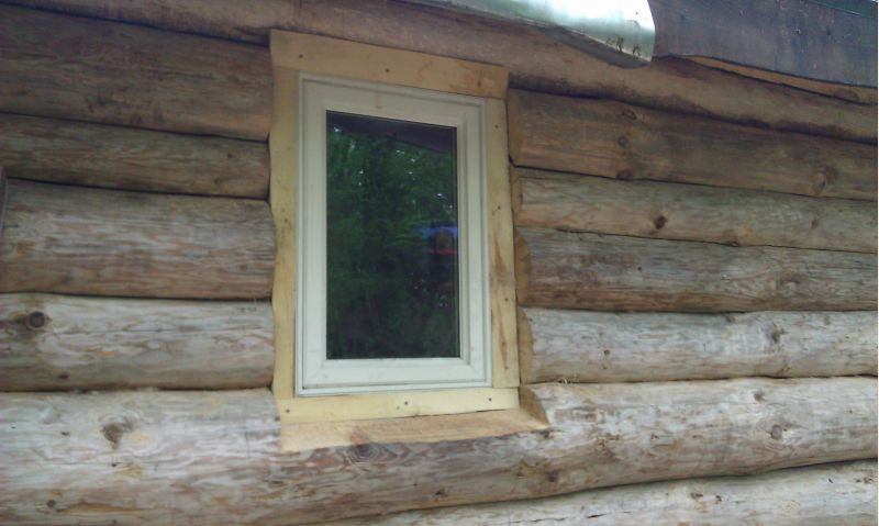 Installed Last Log Cabin Window Small Cabin Forum