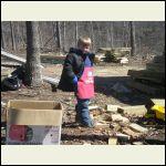 Matt Cleaning Up the Wood Scraps