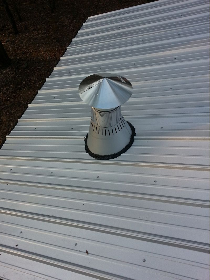 Metal Roof Flashing For Woodstove Chimney Small Cabin