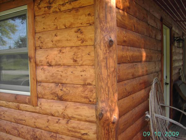 Half log siding small cabin forum for Log slab siding