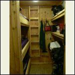 Bunkroom (bunks left, ie 3, pantry shelves right