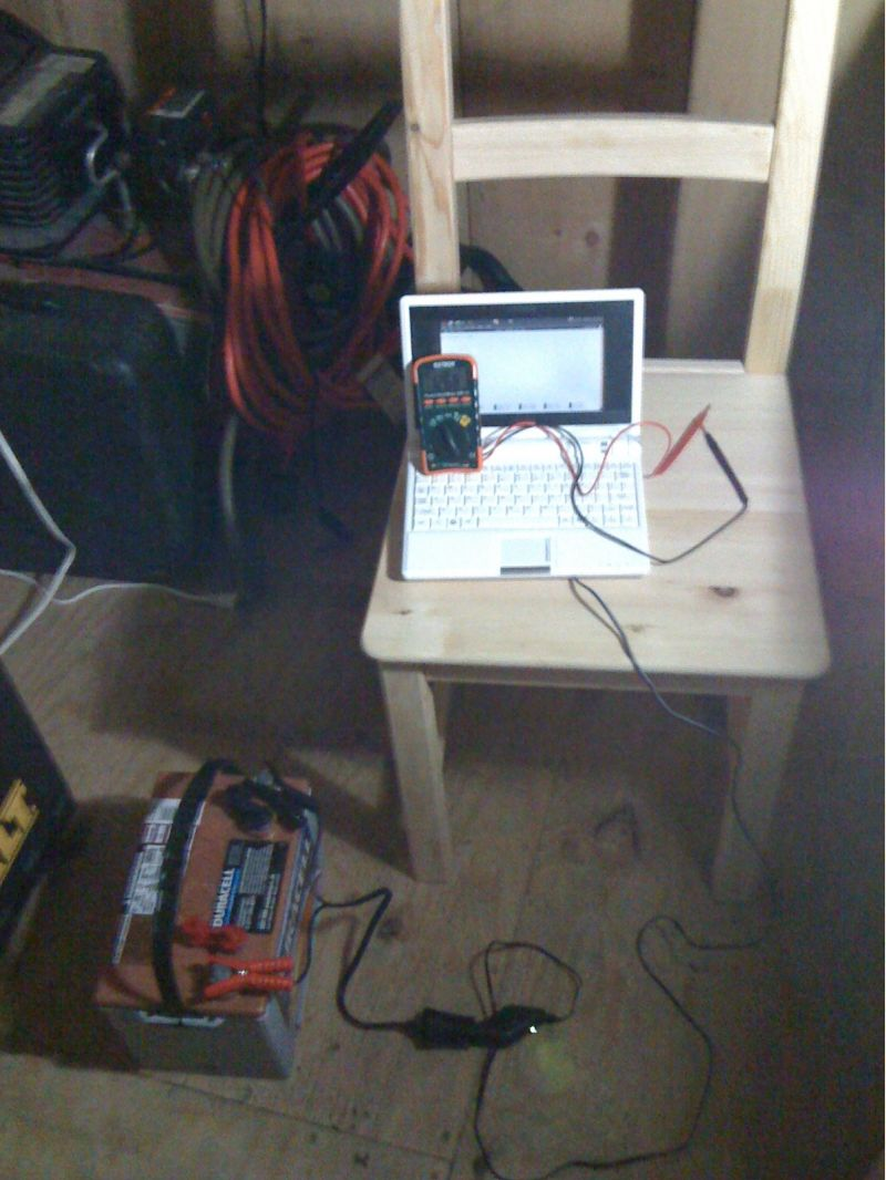 Laptop And Powerbox 800 In Off Grid Log Cabin Small