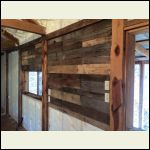 Pallet boards on wall