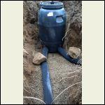 Grey Water barrel & drain lines before burial (Nov.2014)