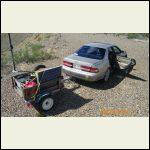 wife's car and tiny trailer