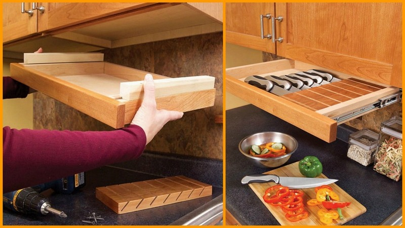 Under cabinet trays small cabin forum Diy under counter storage