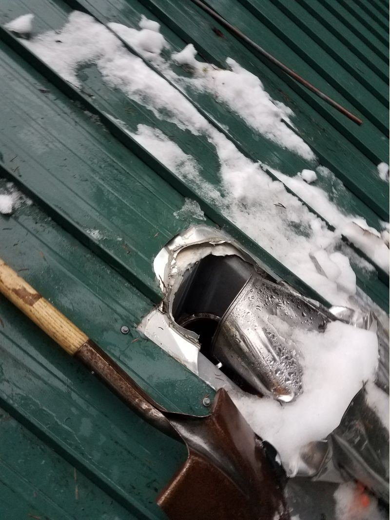Stove Pipe Taken Out By Roof Avalanche Small Cabin Forum