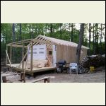 Rafters up on cabin