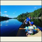 My two boys first rip on the canoe