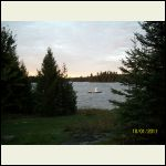 view from a little bit in front of cabin, to shared floating dock