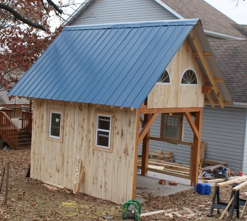 10 39 x 12 39 timber frame plan with 1 2 loft small cabin forum for Board and batten cabin plans