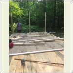 Front Porch floor and initial framing.  My Dad in the background.