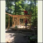 Putting down the floor on the front loft